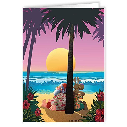 Tropical Sunset Christmas Card - Beach 18 Cards and Envelopes [並行輸入品]