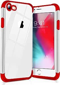 iPhone8 ケース/iPhone7 ケース クリア 透明ケース 耐衝撃 軽量 TPU 薄型 メッキ加工 ケース 指紋防止 耐摩擦 クリアケース,TPU ケース,アイフォン アイフォン 耐衝撃吸収 落下防止 耐震,カメラ保護,qi充電対応 黄ばみ防止