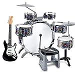 子供のドラムセット6ピースドラムパーカッションドラムキットパズル幼児教育玩具ドラムギフト付きスマートエレキギター