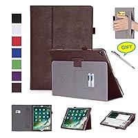 iPad Pro 12.92017ケース、bluweeプレミアムカーフスキンレザーフォリオスタンドカバーケース複数の角度調節、カードスロットとアームバンド(ボーナススタイラスペン付属) NATC027BRO