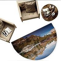 """ヨセミキュラーヨセミキュラークッション ヨセミテの滝 木 山のクリフ 秋 国立公園 カリフォルニア 自然 プリント 玄関 ドアマット 高さ55.1インチ x 奥行82.6インチ オレンジグリーン H 78.7"""" xD 118.1"""""""