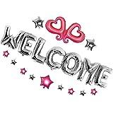 Fenteer バルーンセット 歓迎マイラーバルーン 風船 Welcome 歓迎 ようこそ マイラーバルーン ハート スター 星 ホイルバルーンセット パーティー デコレーション 2タイプ選べる - 銀
