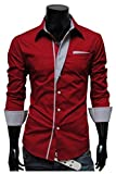 Next house 長袖 ビジネス カジュアル シャツ ワイシャツ 白 黒 赤 グレー 各色 大きい サイズ あり ( 08: レッド Lサイズ )