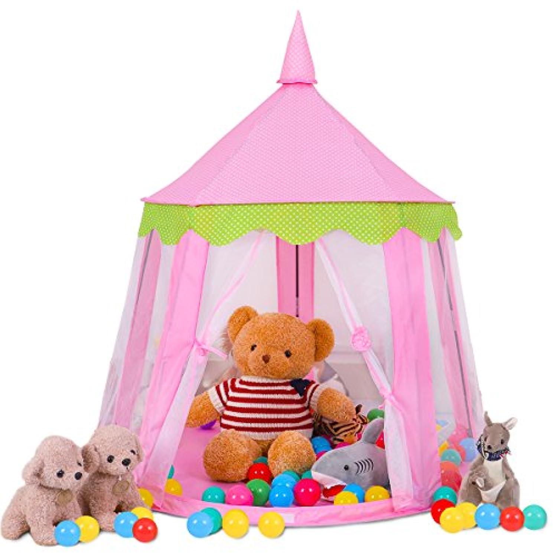 springbudsピンクプリンセス城Kids Play Tent Large子Playhouseのガールズインドアアウトドア使用 ピンク Round Pink Tent