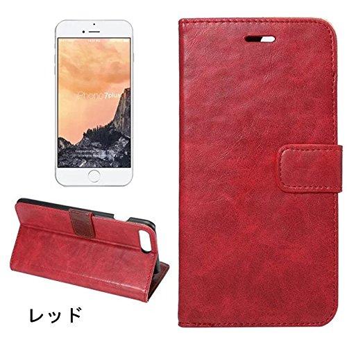 iphone7 plus ケース iphone7 plus カバー アイフォン7 プラス ケース アイフォン7 プラス カバー Apple 5.5インチ スマホケース 保護カバー 手帳型 PUレザー ビジネス 収納あり 単色 レッド