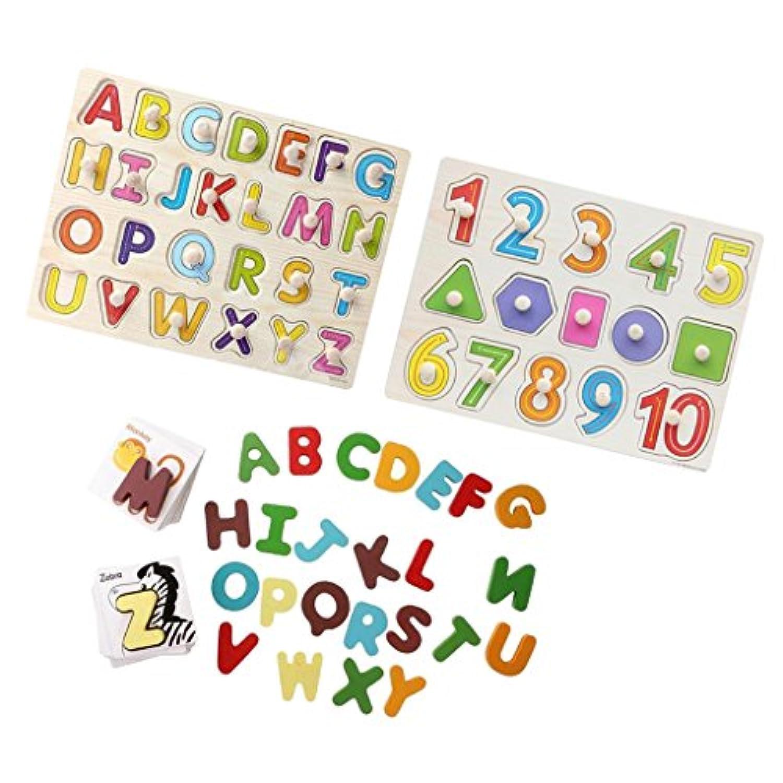 MagiDeal木製動物認識機能カードとアルファベット文字番号Shaped Pegパズル