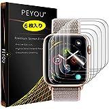 『6枚入り全面保護』Apple Watch Series 4 フィルム 40mm PEYOU【Apple Watch Series 1/2/3 38mmも対応】液晶保護フィルム 40mm TPU製【水貼り】12時間内に気泡が消える 防指紋 高光沢
