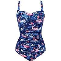 luxilooks One Piece Swimsuits Womens Tummy Control Swimwear Retro Elegant V Neck Monokinis Shirred Bathing Bikini Suit XS-XL