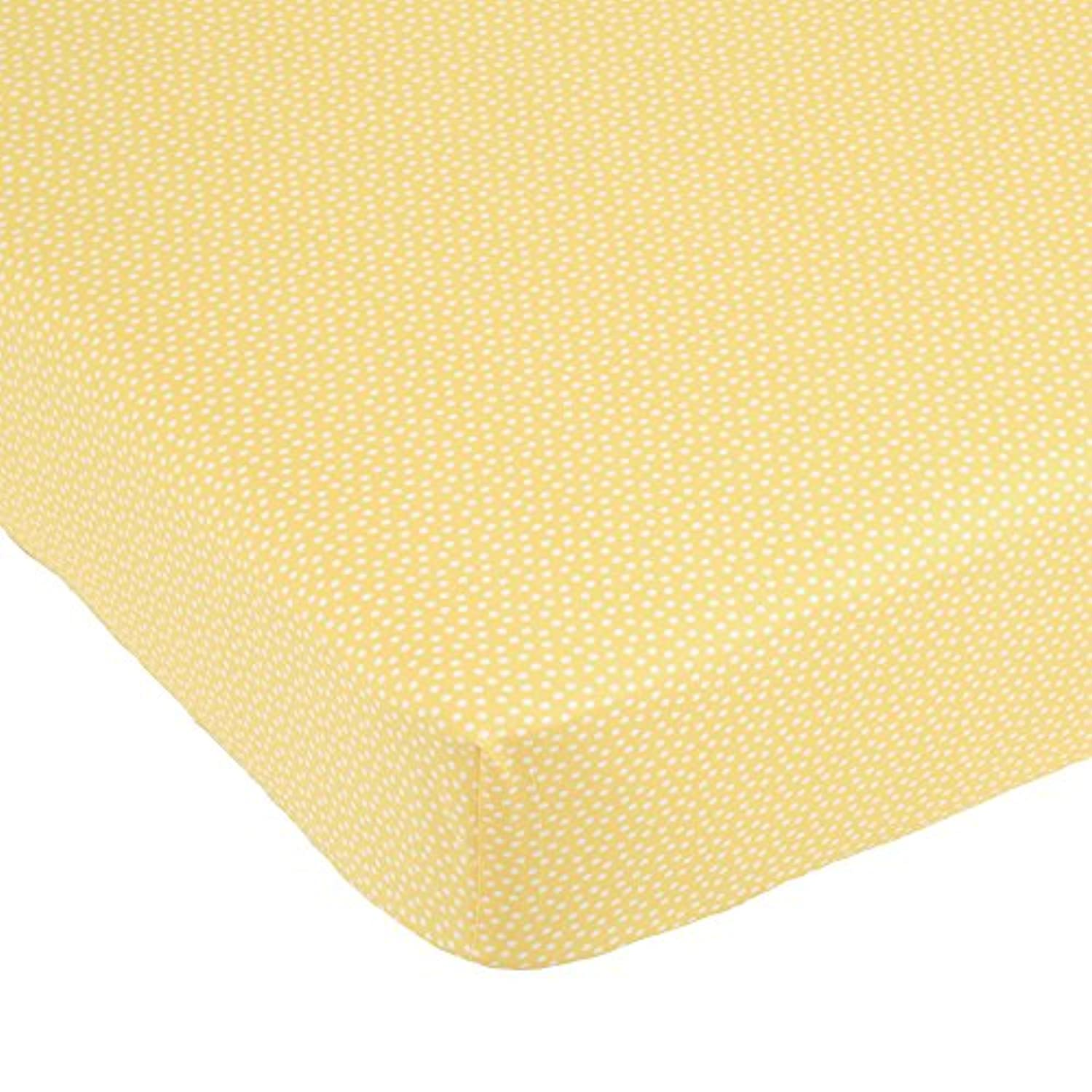 Yellow Tulip White Dot on Yellow Fitted Crib Sheet by Balboa Baby by Balboa Baby