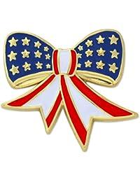 Pinmart 's American Flag Patriotic Bow 7月4エナメルラペルピン 1