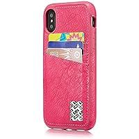 iPhone x耐衝撃ケース、LefRightスリムPUレザーバックケースカバークレジットカードホルダー付きメンズレディース