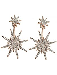 MengPa Hexagram Stud and Ear Jacket Earrings for Women Snowflake Fashion Jewelry