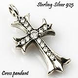 「silverKYASYA」シルバー925素材 クロスペンダント 925 十字架 クロスネックレストップ ジルコニア