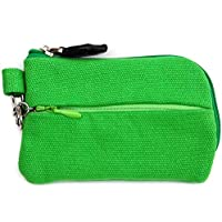 On The Go - Card and Coin Pouch, 2 Zippered Pockets, Slim Fabric Design (Green)