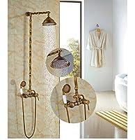"""GOWE Luxuryアンティーク真鍮浴槽シャワーセット壁マウント8""""シャワーヘッド+ハンドヘルド"""