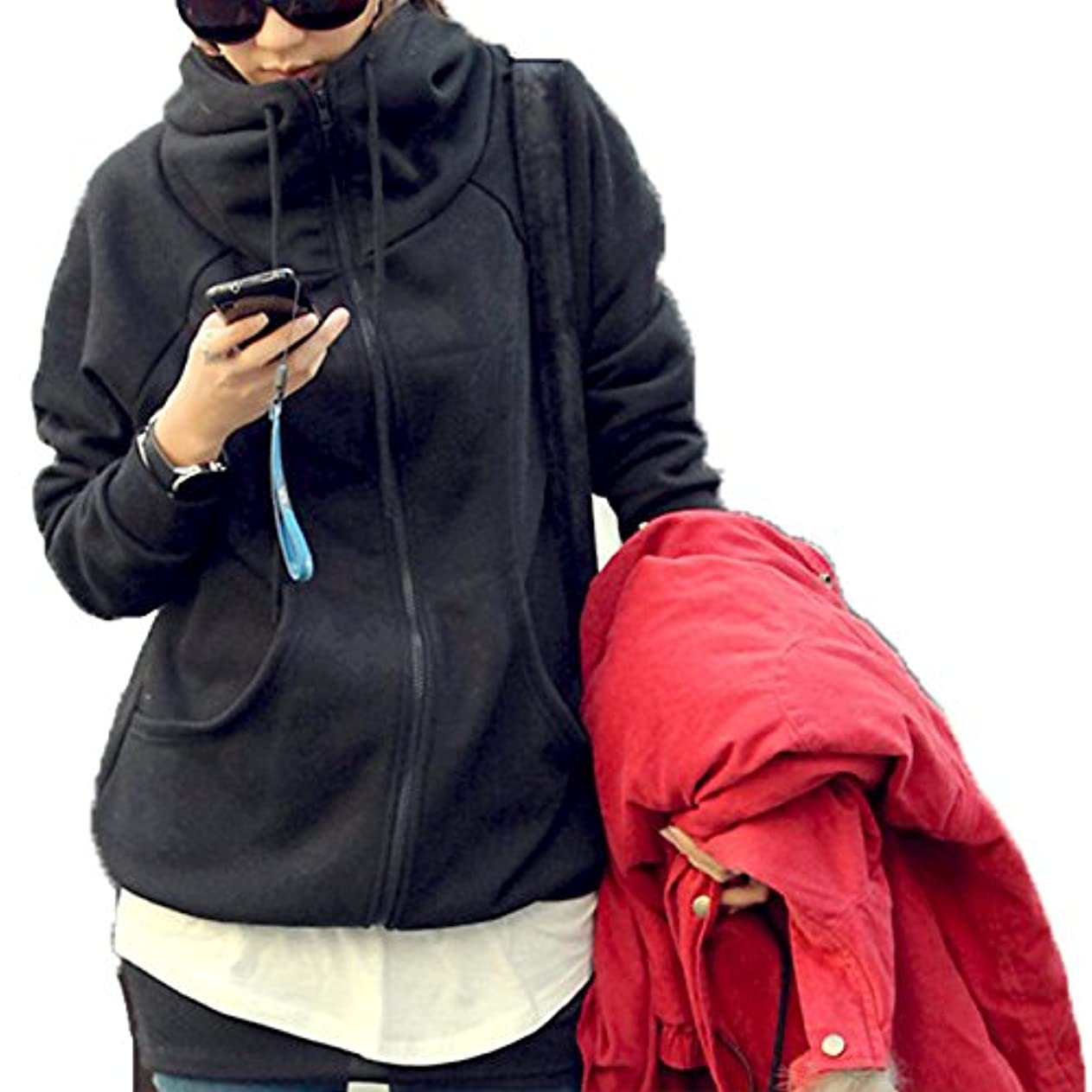 却下するベーカリービュッフェ[ココチエ] レディース パーカー シンプル ジップアップ 綿 フード かっこいい 長袖 おしゃれ カジュアル M L XL グレー ブラック