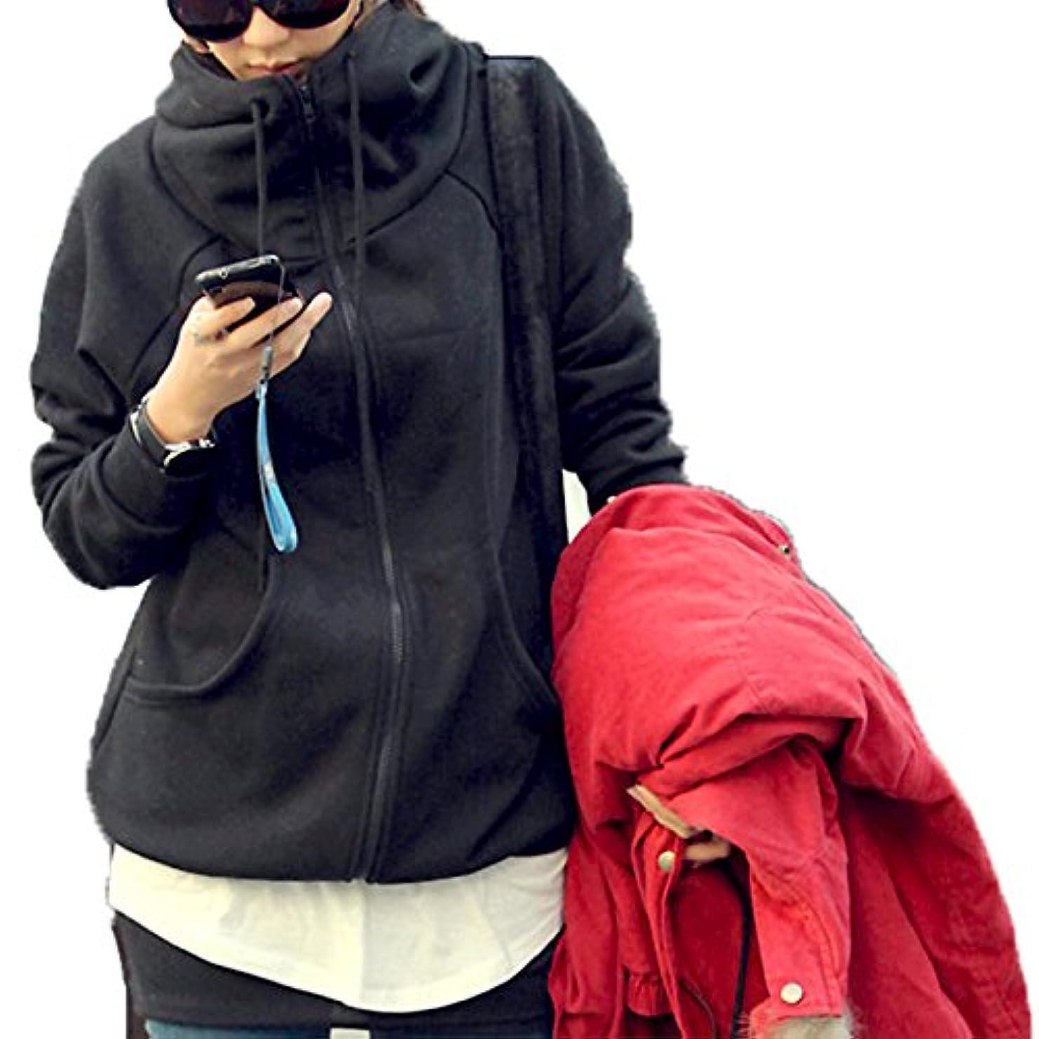 スキー可愛い旅客[ココチエ] レディース パーカー シンプル ジップアップ 綿 フード かっこいい 長袖 おしゃれ カジュアル M L XL グレー ブラック