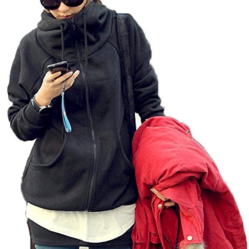不平を言う手順チロ[ココチエ] レディース パーカー シンプル ジップアップ 綿 フード かっこいい 長袖 おしゃれ カジュアル M L XL グレー ブラック