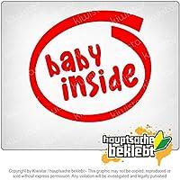 赤ちゃんの中 Baby inside 11cm x 11cm 15色 - ネオン+クロム! ステッカービニールオートバイ