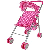 Precious Toys Pink & White Polka Dots Foldable Doll Stroller With Hood [並行輸入品]