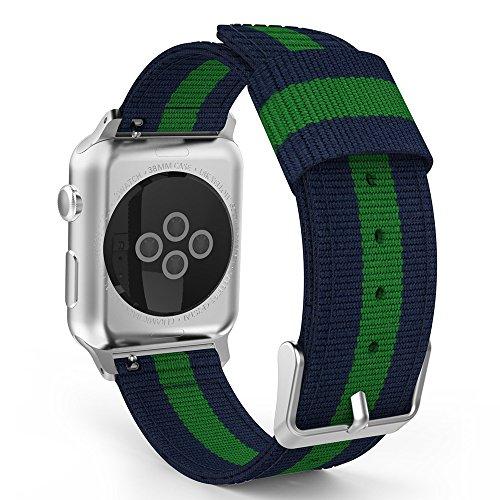 XMDirect ウーブンナイロン スポーツ ベルト 全機種対応 for Apple Watch Series 1/Series 2/Series 3 42mm, Series 4 44mm 【緑】