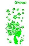 ノーブランド 緑 溢れる花々 満開の 華 フラワー ガール キュートな女性 シルエットFlower Girl