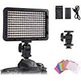 On-Camera Video Light Panel, Tolifo Ultra Bright 216 LED Conference Light Kit with Rechargeable Battery, 6 Colour Filters Hot