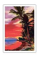 アイルO '夢、ハワイ - ビンテージなハワイアンカラーのハガキ c.1930s - アートポスター - 76cm x 112cm