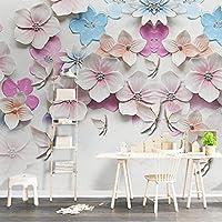 Mingld 3D壁紙ステレオレリーフ桃の花の花の壁画リビングルームのテレビソファの背景壁の装飾壁紙紙花-400X280Cm