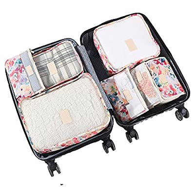 HiDay 7 Set Travel Organizer Bag System, 3 Packing Cubes + 3 Pouches + 1 Toiletry Organizer Bag, Premium Quality