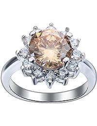 (ビグッド) Bigood シルバー925 リング 指輪 レディース ジュエリー ファッションリング キュービックジルコニア?茶色 彼女プレゼント アクセサリー(9号)