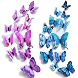 【Double Wings】 TERSELY 24 Pack Blue + Purple 3D Butterfly Wall Removable Sticker Decals, Home Decoration DIY Removable Man-Ma