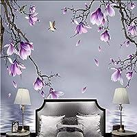 Wxmca カスタム写真の壁紙現代の3Dマグノリア鳥の花スペース壁画リビングルームテレビソファ背景壁紙用3 D家の装飾-250X175Cm