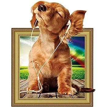 ふく福 かわいい PVC製 3D立体 犬 ウォールステッカー カートン動物 DIY 壁紙シール リビングルーム テレビ背景 装飾デ カール