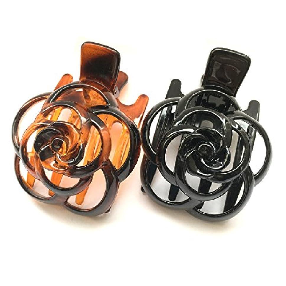 ナラーバー評価するステップle chainon ヘア サイド バンス クリップ (薔薇スカシB 2種セット, ブラックブラウン SetA)