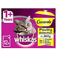 [Whiskas ] ウィスカス1+キャセロール猫はゼリー12×85グラムで家禽をパウチ - Whiskas 1+ Casserole Cat Pouches Poultry in Jelly 12 x 85g [並行輸入品]
