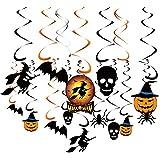 KUUQA ハロウィン 装飾 グッズ 部屋 飾り かぼちゃ 魔女 骸骨 コウモリ 鴉 形 螺旋状 吊り下げる パーティー小物 循環利用(34個)