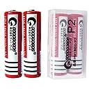 二本セット GOODGOODS 18650リチウムイオン電池 3600mAh 3.7V 充電池 保護回路付き 【CE PSE認証済み】 【 電池ケース付き 】 P2
