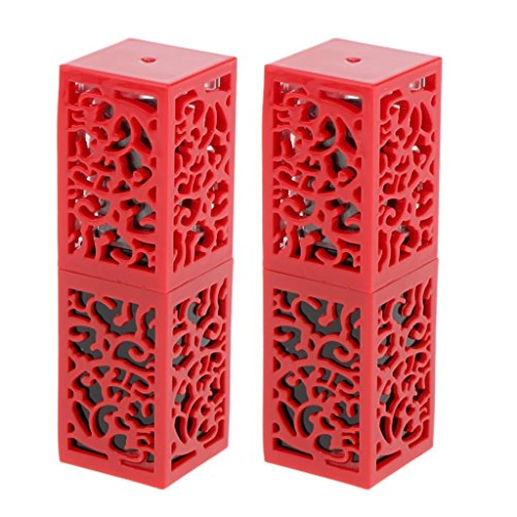 繊維体ドロップ2個入 口紅チューブ リップスティックチューブ 内径1.21cm 金型 コスメ 化粧品 DIY 全2色 - 赤