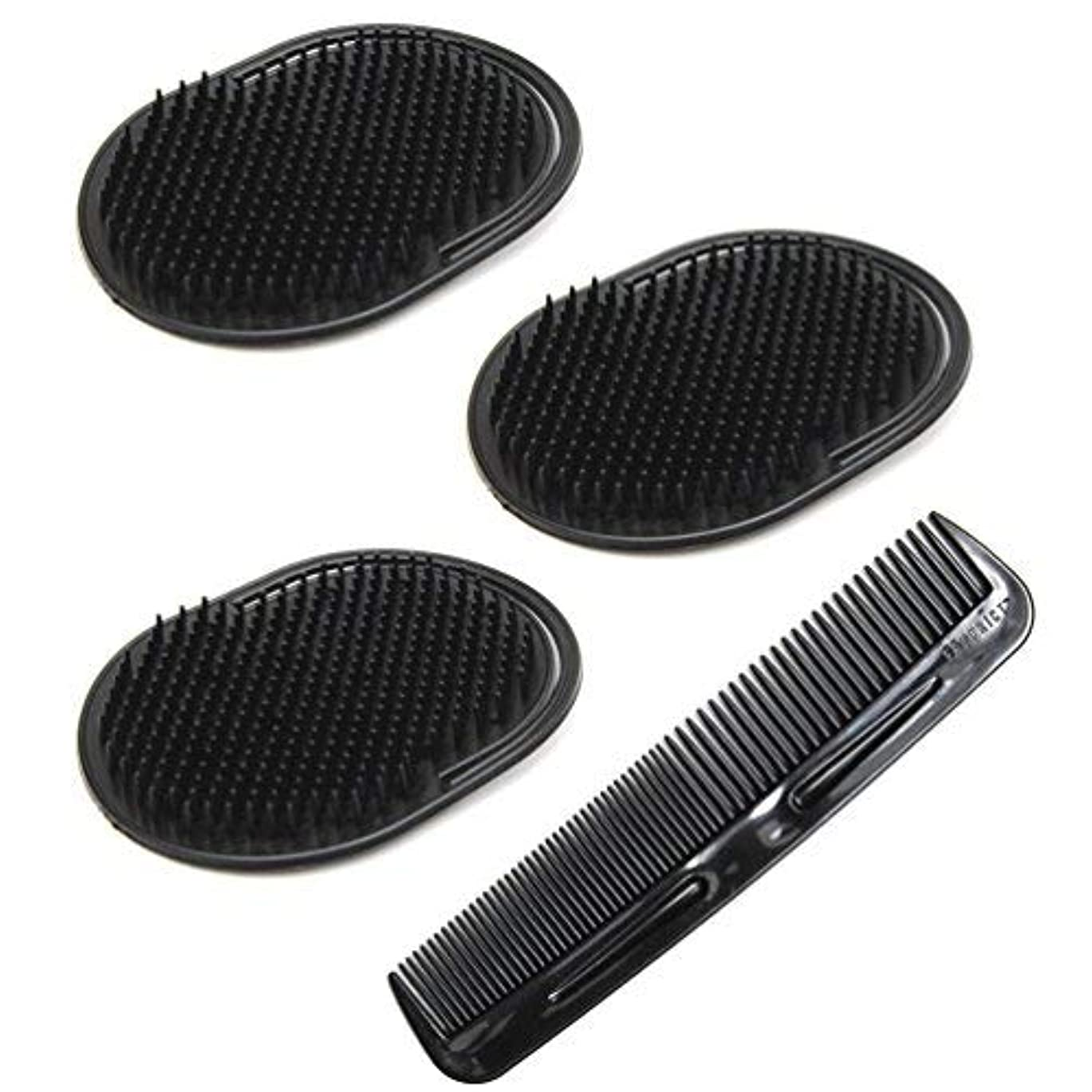爪概要復讐Luxxii (4 Pack) Hair Scalp Massage Shampoo Palm Brush Massager with 5