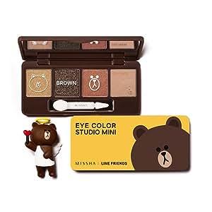 美思 MISSHA(ミシャ) ラインフレンズエディション・アイカラースタジオミニ ・02号 ブラウンブラウニー(Missha Eye Color Studio Mini #02 Brown Brownie) [並行輸入品]
