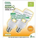 オーム電機 電球形蛍光灯 エコデンキュウ スパイラル形 E26 100形相当 電球色 2個入 [品番]06-0279 EFD25EL/18-SP-2P