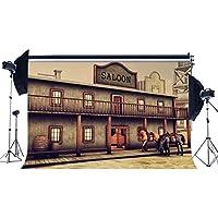 rbabyphotoビニールWestern古いSaloonバックドロップ9x 6ft Westカウボーイ写真壁紙American Culture Horse豪華なレトロ木製バー背景メンズ大人アウトドア観光写真Studio小道具ck81