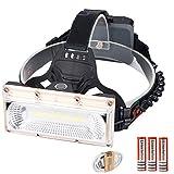 USB電源COB LEDヘッドライトヘッドランプUSB充電式ヘッドランプトーチ3モード18650バッテリー防水ハンティング釣り照明