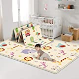 Baby Folding Crawling Mat, Kids Play Mat Soft Foam Rug Carpet, Reversible Double Sides Waterproof Portable Mats Cute Cartoon Nursery Rug (70 x 59 x 0.2 Inches)