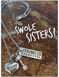 swole姉妹!ボディビル、フィットネス、ダンベルが強く美しいネックレスやキーホルダー?ジュエリー