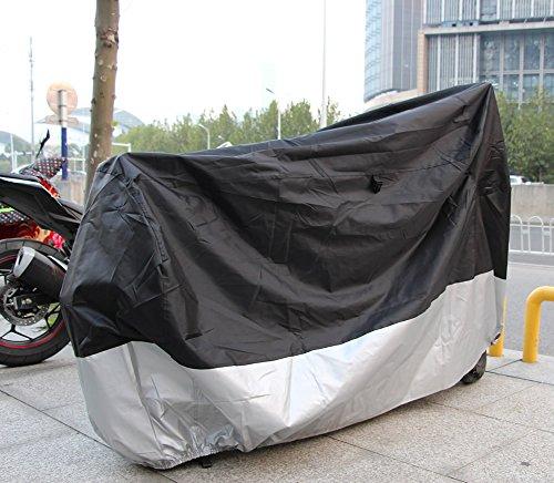 felizcoche 210dオックスフォード生地すべてかどうかオートバイカバー防水UV保護通気性すべてかどうかフルサイズオートバイのカバー、ブラックシルバー( 86–1/ 2