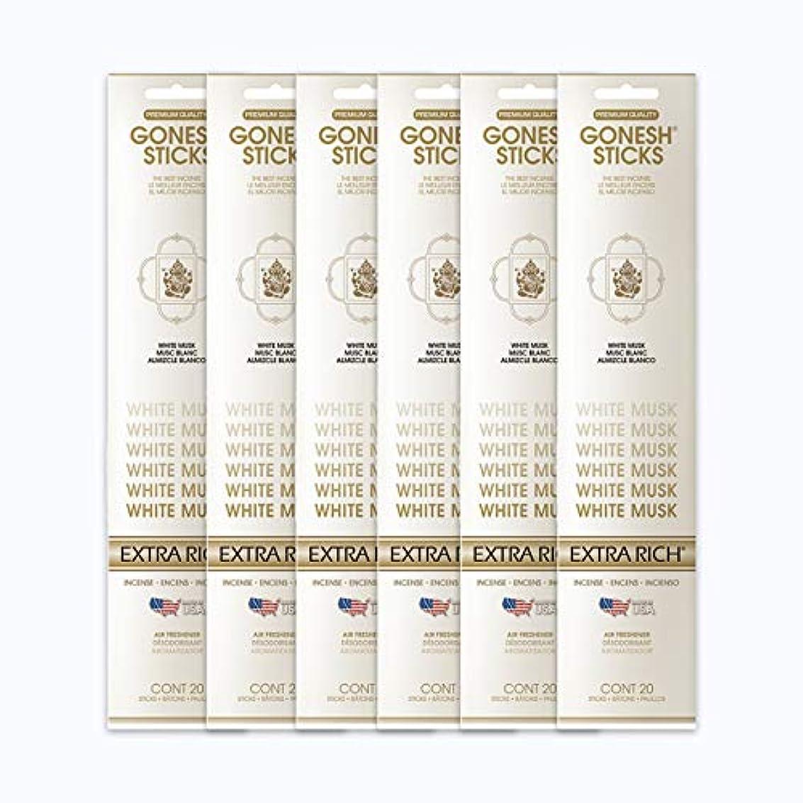 テント乱す食料品店GONESH インセンススティック WHITE MUSK ホワイトムスク 6パック120本組