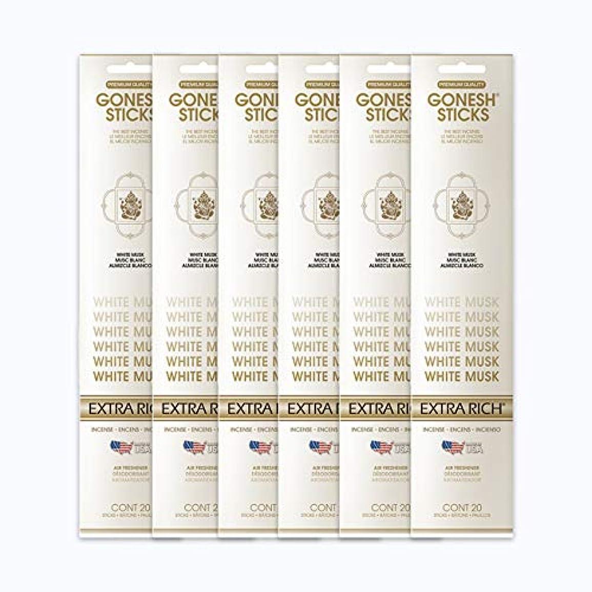 トラック恋人心のこもったGONESH インセンススティック WHITE MUSK ホワイトムスク 6パック120本組