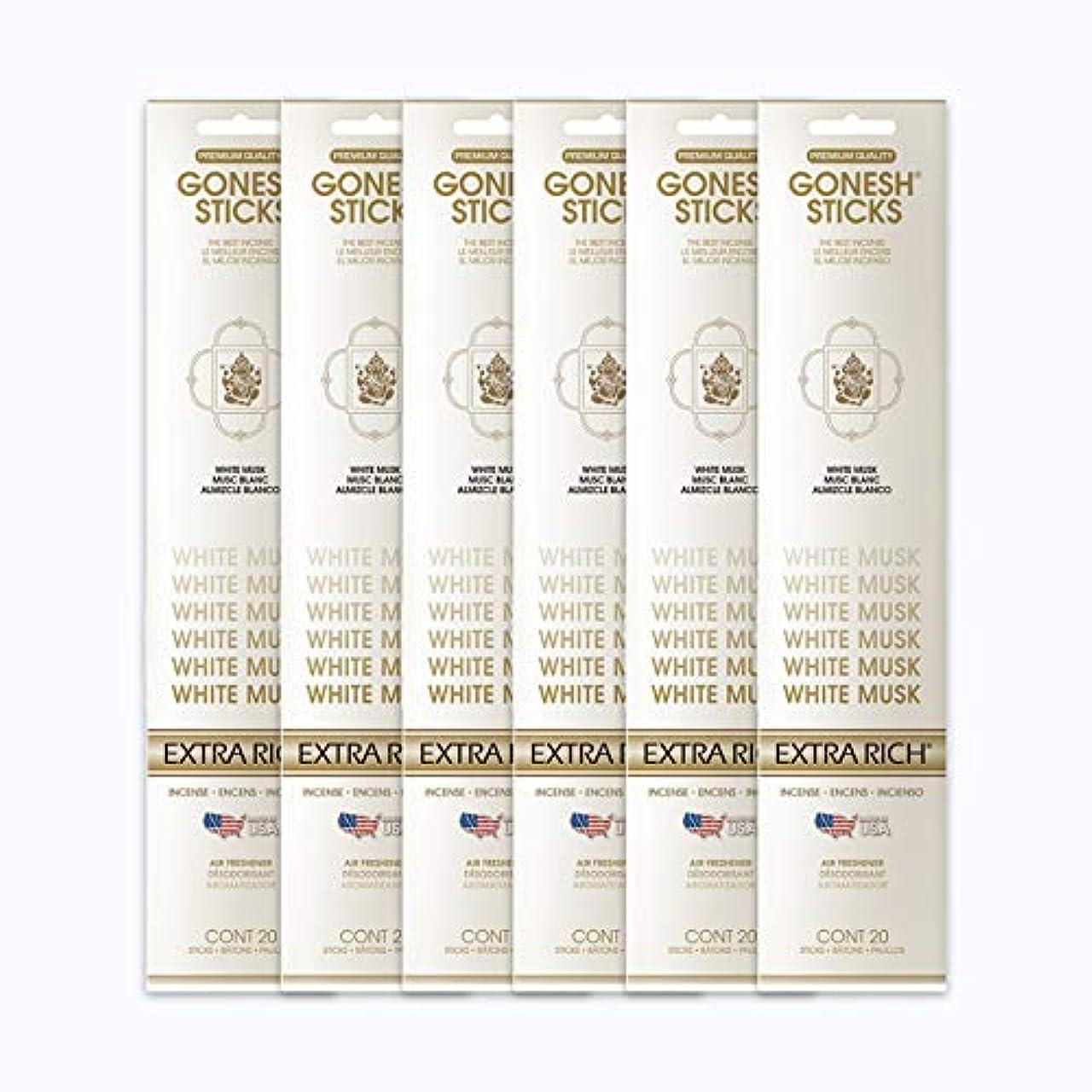 毛細血管除外する是正するGONESH インセンススティック WHITE MUSK ホワイトムスク 6パック120本組